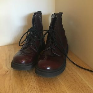 Shoes - Deep Red Combat boots